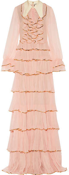 Gucci - Ruffled Embellished Silk-crepon Gown - Blush