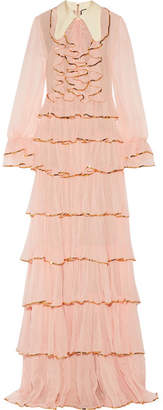 Gucci Ruffled Embellished Silk-crepon Gown - Blush