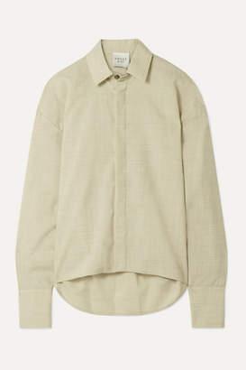 A.W.A.K.E. Mode Business Woman Oversized Slub Wool Shirt - Beige