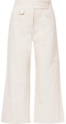 Veronica Beard Cayman Cropped Cotton-canvas Wide-leg Pants - Ecru