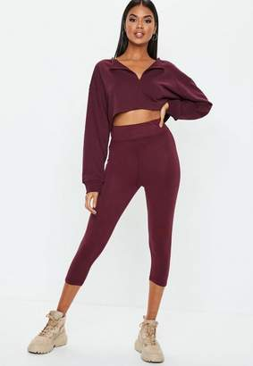 Missguided Burgundy Cropped Leggings
