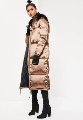 Bronze Longline Satin Padded Coat $143 thestylecure.com
