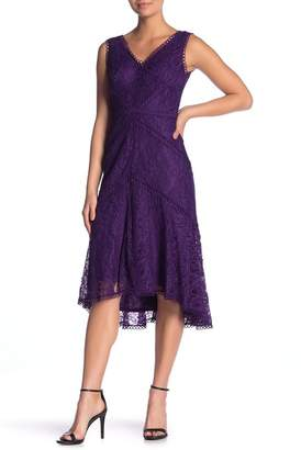 Taylor V-Neck Hi-Lo Lace Midi Dress