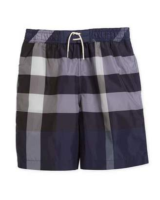 Burberry Jeffries Check Swim Trunks, Blue, Size 4-14