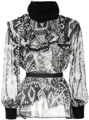 Sacai printed ruffle rib trim blouse