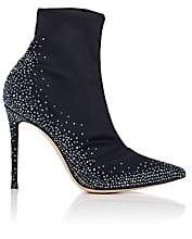 Gianvito Rossi Women's Embellished Stretch-Satin Ankle Boots-Navy
