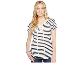 Allen Allen Short Sleeve Lace Front Tee Women's T Shirt