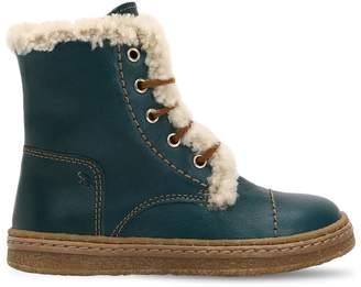 Ocra Leather & Shearling Boots
