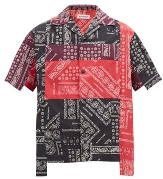 Palm Angels Patchwork Bandana Short Sleeve Cotton Shirt - Mens - Multi