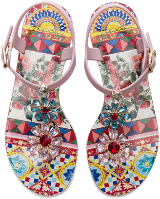 Dolce & Gabbana Flower Jewel Jelly Sandals $745 thestylecure.com