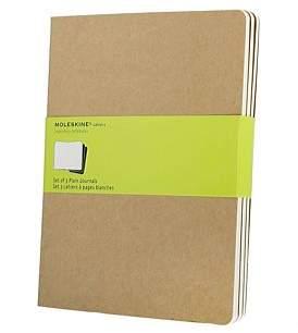 Moleskine Cahier- Set Of 3,Unruled Notebook, Extra Large, Kraft