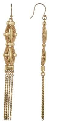 Lucky Brand Woven thread Detail Chain Tassel Drop Earrings