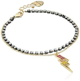 Betsey Johnson Womens Granny Chic Two Tone Crystal Stone and Lightning Bolt Charm Anklet