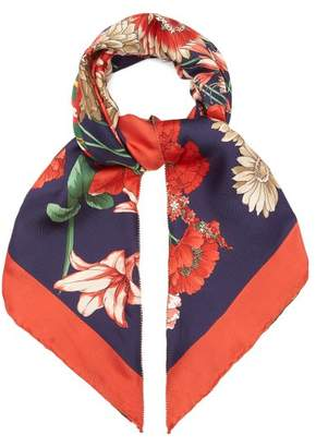 Gucci Gg Belt And Floral Print Silk Scarf - Womens - Navy