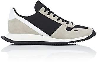 Rick Owens Men's Geometric-Sole Suede & Tech-Twill Sneakers - Black