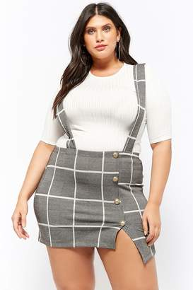 a113ccbf0a Forever 21 Plus Size Ribbed Top & Glen Plaid Skirt Set