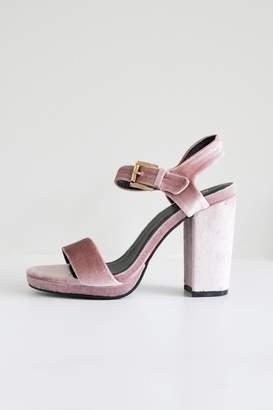 Qupid Blush Velvet Sandal