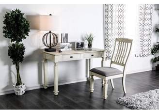 Furniture of America Valene Rustic White Farmhouse Desk and Chair Set