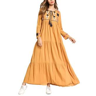 Joyicekym Floral Embroidery Long Sleeve Square Neck Loose Fit Muslim Robe Women Dress (Color : , Size : XXL)