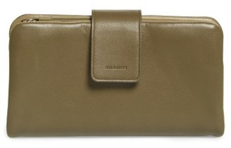Women's Allsaints Paradise Lambskin Leather Wallet - Grey $118 thestylecure.com