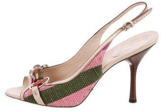 Gucci Canvas Slingback Pumps