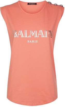 Balmain Sleeveless Button Logo T-Shirt
