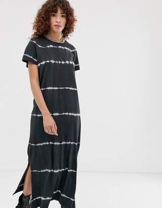 Noisy May tie dye print t-shirt maxi dress