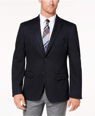 Ryan Seacrest Distinction Men's Modern-Fit Stretch Navy Pindot Knit Sport Coat, Created for Macy's