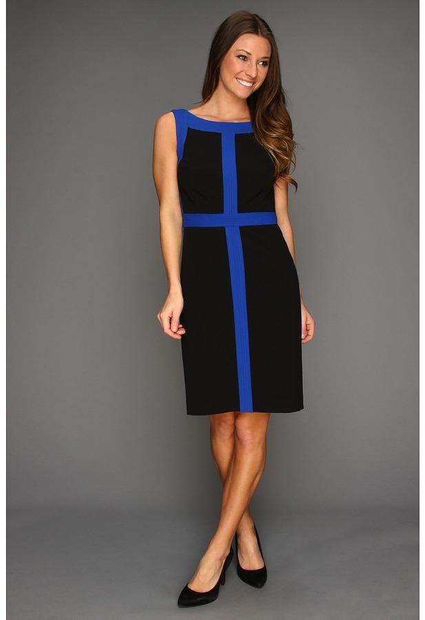 Ellen Tracy Sleeveless Splice Dress (Black/Cobalt) - Apparel