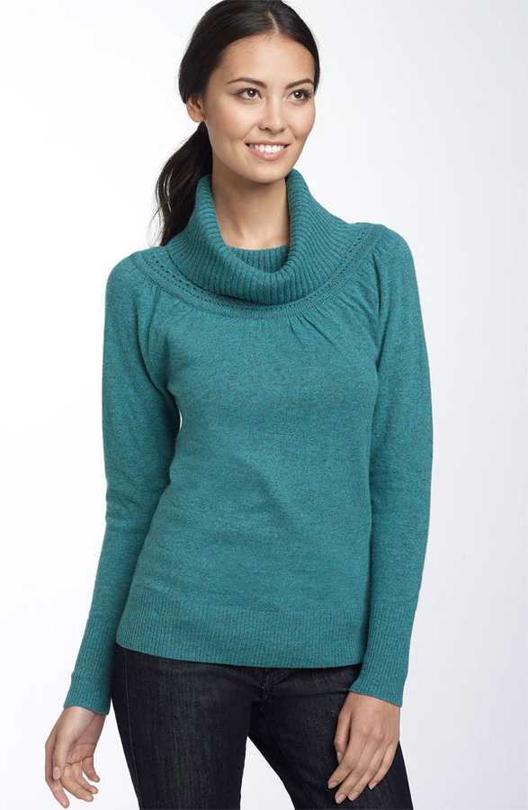 Caslon® Crochet Trim Turtleneck Sweater