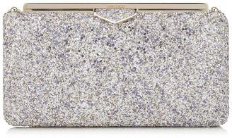Jimmy Choo ELLIPSE Platinum Mix Clutch Bag in Painted Coarse Glitter Fabric