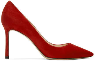 Jimmy Choo Red Suede Romy 85 Heels