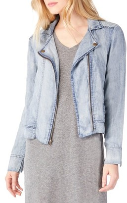 Women's Michael Stars Lightweight Denim Moto Jacket $198 thestylecure.com