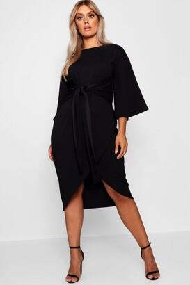 boohoo Kimono Sleeve Wrap Over Midi Dress