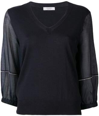 Peserico sheer sleeve knitted top