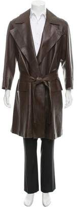 Gucci Leather Belted Overcoat