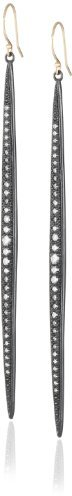 Mizuki 14Kt Wire Charm Large Shadow Silver Icicle Diamond Earrings (1.08Ct)