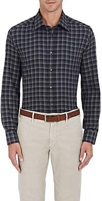 Luciano Barbera MEN'S CHECKED COTTON BUTTON-FRONT SHIRT - BLACK SIZE XL
