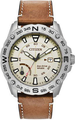Citizen Men Eco-Drive Brown Leather Strap Watch 44mm