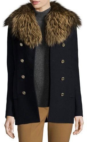 TheoryTheory Overby Belmore Fox-Collar Double-Breasted Coat