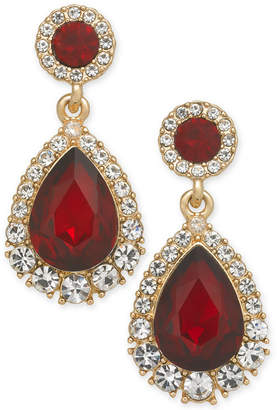 Charter Club Gold-Tone Pave & Stone Drop Earrings
