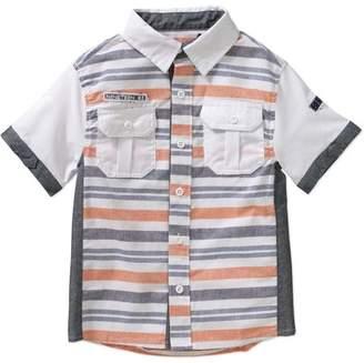 Beverly Hills Polo Club Boys' Yarn-Dye Stripe Poplin Short Sleeve Woven Shirt