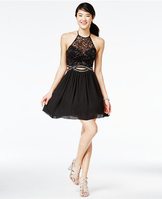 B Darlin Juniors' Cutout Illusion Fit & Flare Dress, A Macy's Exclusive Style $99 thestylecure.com