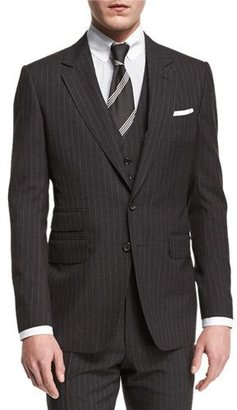 TOM FORD Buckley Base Pinstripe Three-Piece Wool Suit, Charcoal $5,440 thestylecure.com