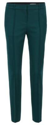 BOSS Hugo Pleat-front pants in stretch virgin wool 6 Open Green