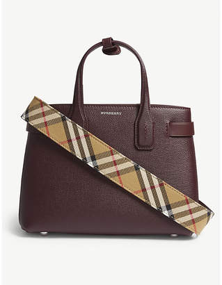 Burberry Mahogany Red Check Banner Small Grained Leather Tote Bag