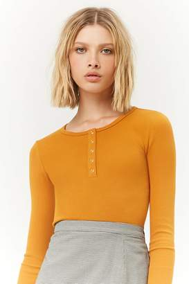 Forever 21 Ribbed Henley Top