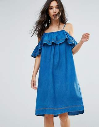 QED London Denim Dress With Ruffle $37 thestylecure.com