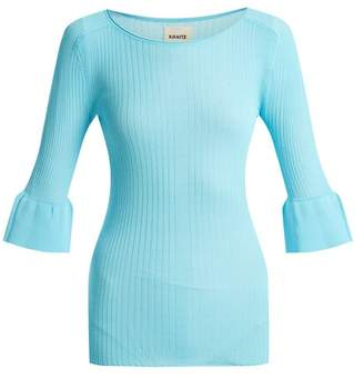 Khaite - Jean Bell Cuff Ribbed Knit Top - Womens - Blue