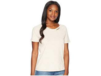 Lucky Brand Embroidered Lucky You Destructed Tee